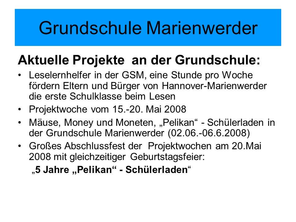 Grundschule Marienwerder Aktuelle Projekte an der Grundschule: Leselernhelfer in der GSM, eine Stunde pro Woche fördern Eltern und Bürger von Hannover