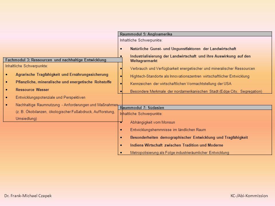 Raummodul 5: Angloamerika Inhaltliche Schwerpunkte: Natürliche Gunst- und Ungunstfaktoren der Landwirtschaft Industrialisierung der Landwirtschaft und