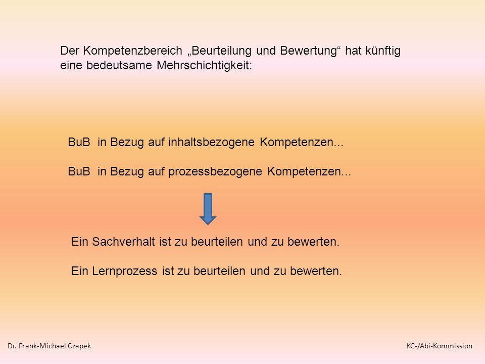 Der Kompetenzbereich Beurteilung und Bewertung hat künftig eine bedeutsame Mehrschichtigkeit: BuB in Bezug auf inhaltsbezogene Kompetenzen... BuB in B