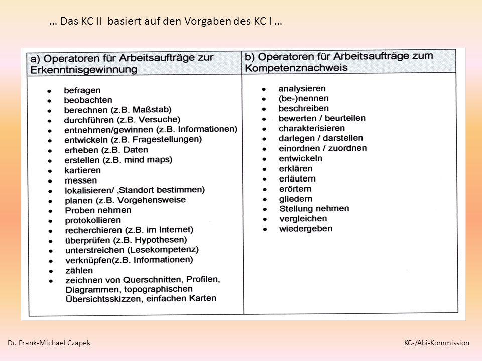 … Das KC II basiert auf den Vorgaben des KC I … Dr. Frank-Michael Czapek KC-/Abi-Kommission