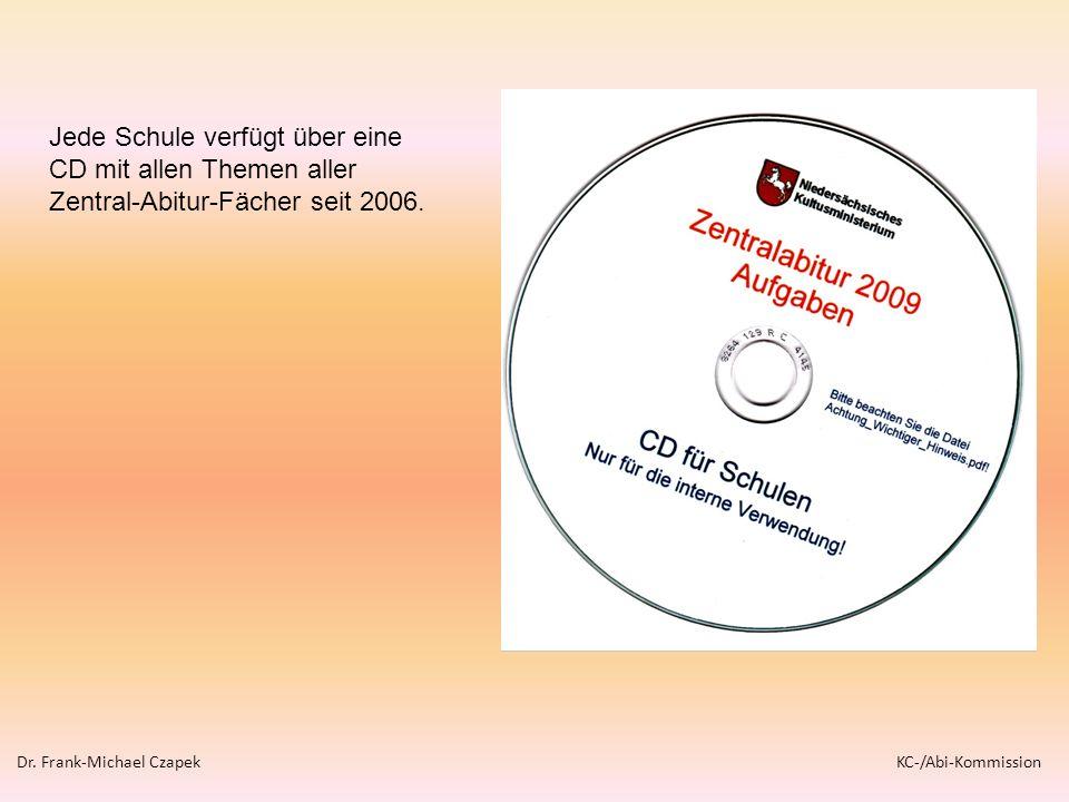Jede Schule verfügt über eine CD mit allen Themen aller Zentral-Abitur-Fächer seit 2006. Dr. Frank-Michael Czapek KC-/Abi-Kommission