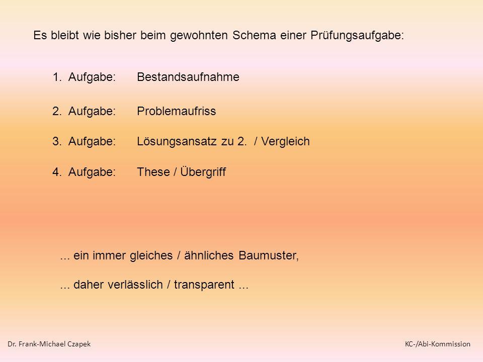 1. Aufgabe: Bestandsaufnahme 2. Aufgabe: Problemaufriss 3. Aufgabe: Lösungsansatz zu 2. / Vergleich 4. Aufgabe: These / Übergriff... ein immer gleiche