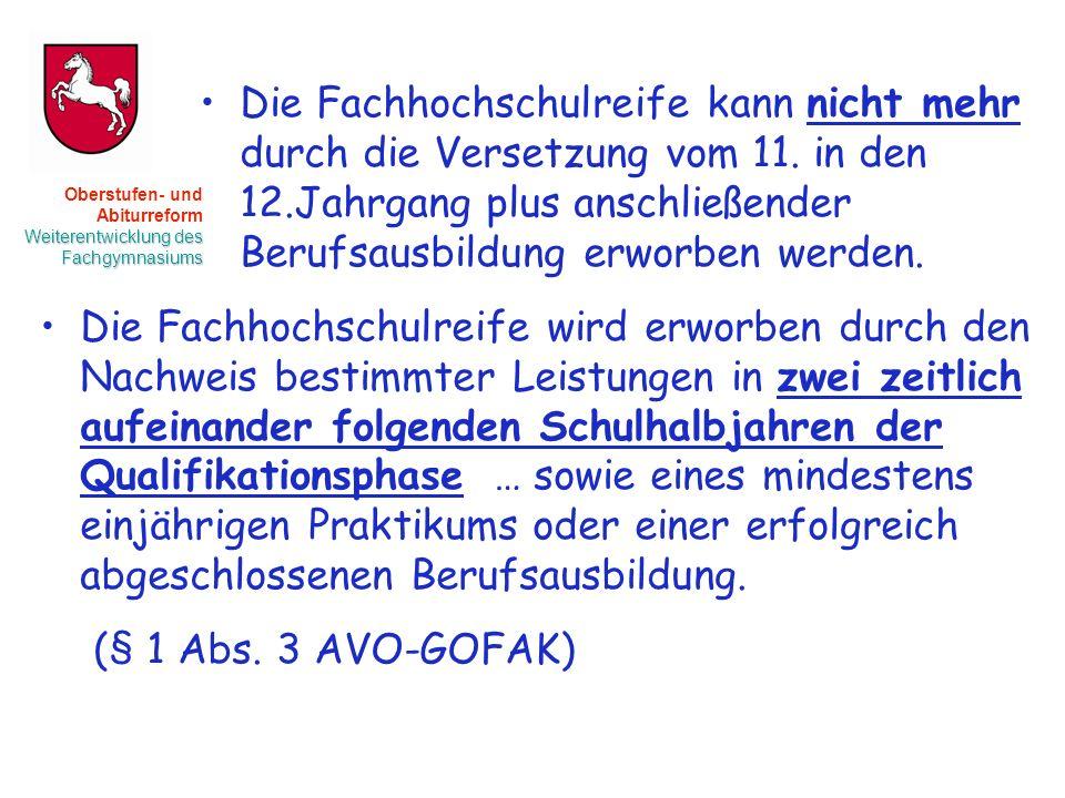 Oberstufen- und Abiturreform Weiterentwicklung des Fachgymnasiums Die Fachhochschulreife kann nicht mehr durch die Versetzung vom 11.