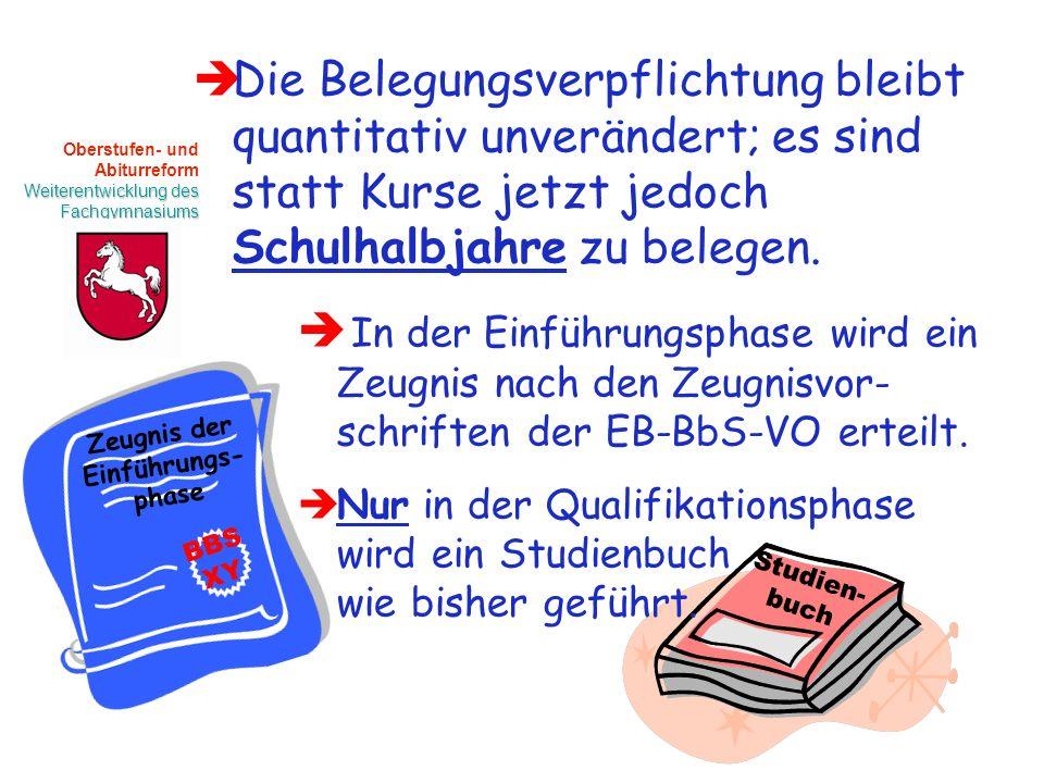 Oberstufen- und Abiturreform Weiterentwicklung des Fachgymnasiums Die Belegungsverpflichtung bleibt quantitativ unverändert; es sind statt Kurse jetzt jedoch Schulhalbjahre zu belegen.