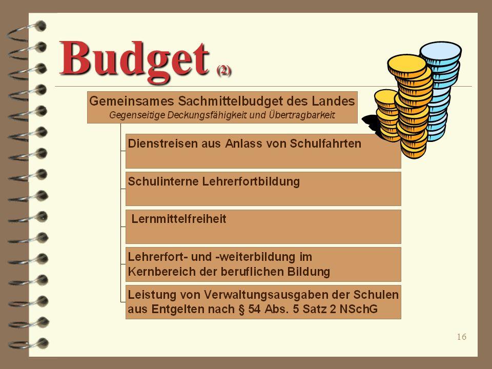 15 Budget (1) ò Flächendeckender Modell- versuch für alle öffentlichen berufsbildenden Schulen ò Befristung bis zum 31.01.2005 ò Bezirksregierungen be