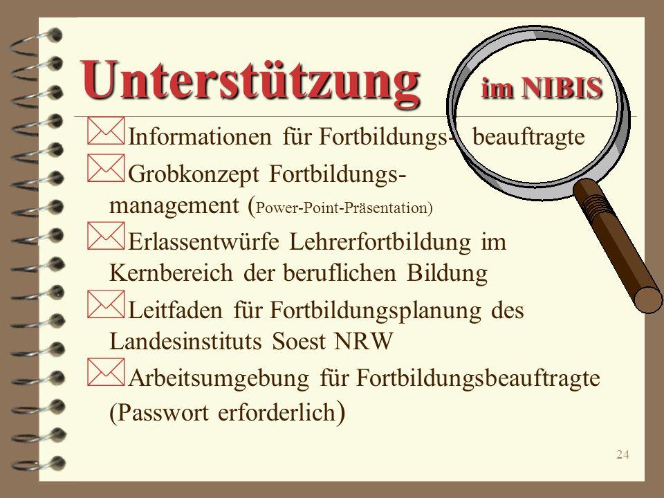 23 das NLI Unterstützung durch das NLI Übernahme von Agenturaufgaben o Referentinnen und Referenten o Kursstätten o Abwicklung/Serviceleistungen o Zus