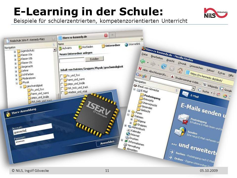 E-Learning in der Schule: Beispiele für schülerzentrierten, kompetenzorientierten Unterricht © NiLS, Ingolf Göwecke 1105.10.2009