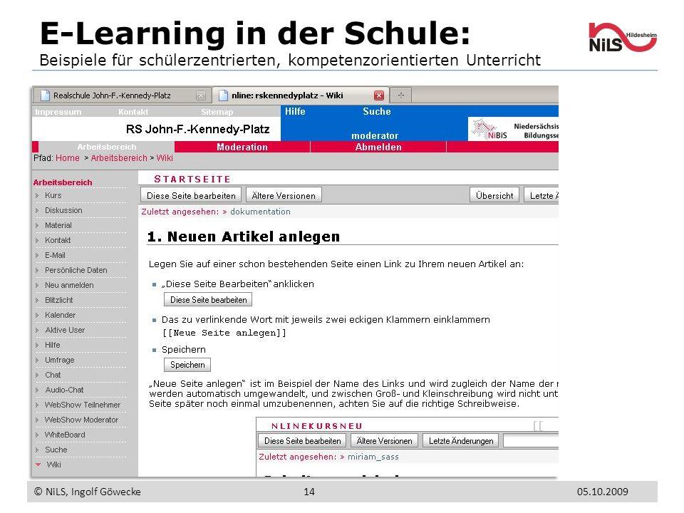 E-Learning in der Schule: Beispiele für schülerzentrierten, kompetenzorientierten Unterricht © NiLS, Ingolf Göwecke 05.10.200914