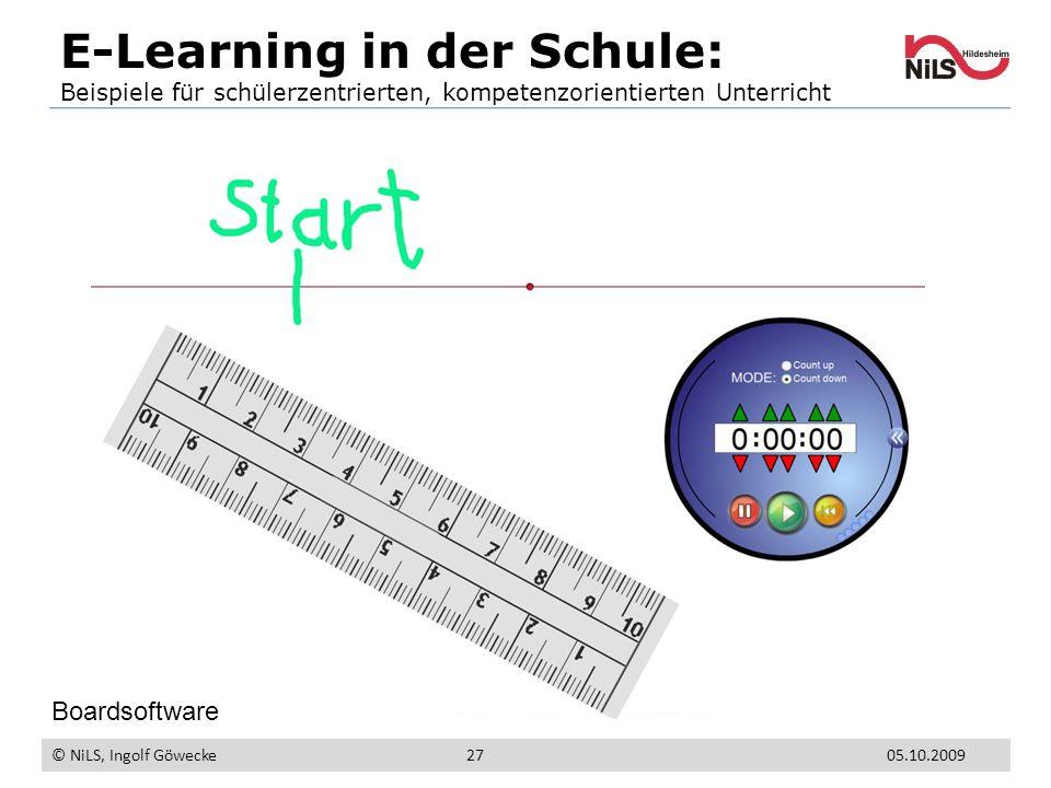 E-Learning in der Schule: Beispiele für schülerzentrierten, kompetenzorientierten Unterricht © NiLS, Ingolf Göwecke 05.10.200927 Boardsoftware