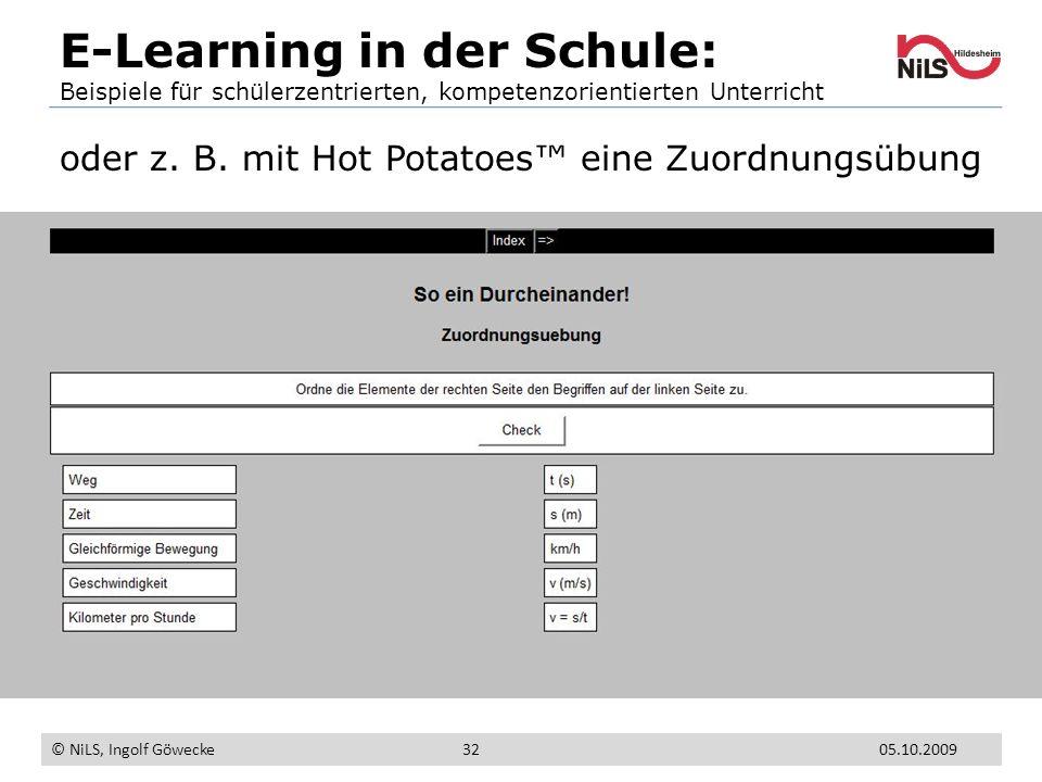 E-Learning in der Schule: Beispiele für schülerzentrierten, kompetenzorientierten Unterricht © NiLS, Ingolf Göwecke 05.10.200932 oder z. B. mit Hot Po