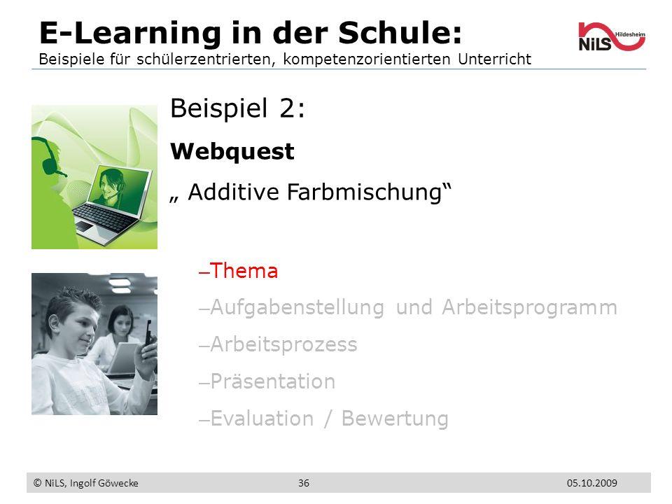 Beispiel 2: Webquest Additive Farbmischung – Thema – Aufgabenstellung und Arbeitsprogramm – Arbeitsprozess – Präsentation – Evaluation / Bewertung E-L