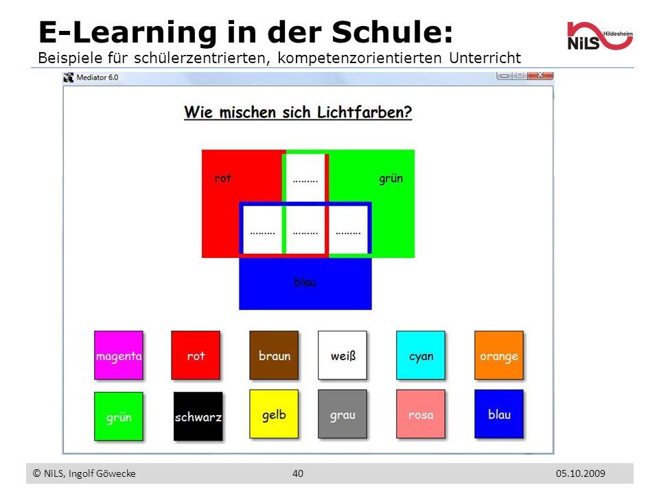E-Learning in der Schule: Beispiele für schülerzentrierten, kompetenzorientierten Unterricht © NiLS, Ingolf Göwecke 05.10.200940