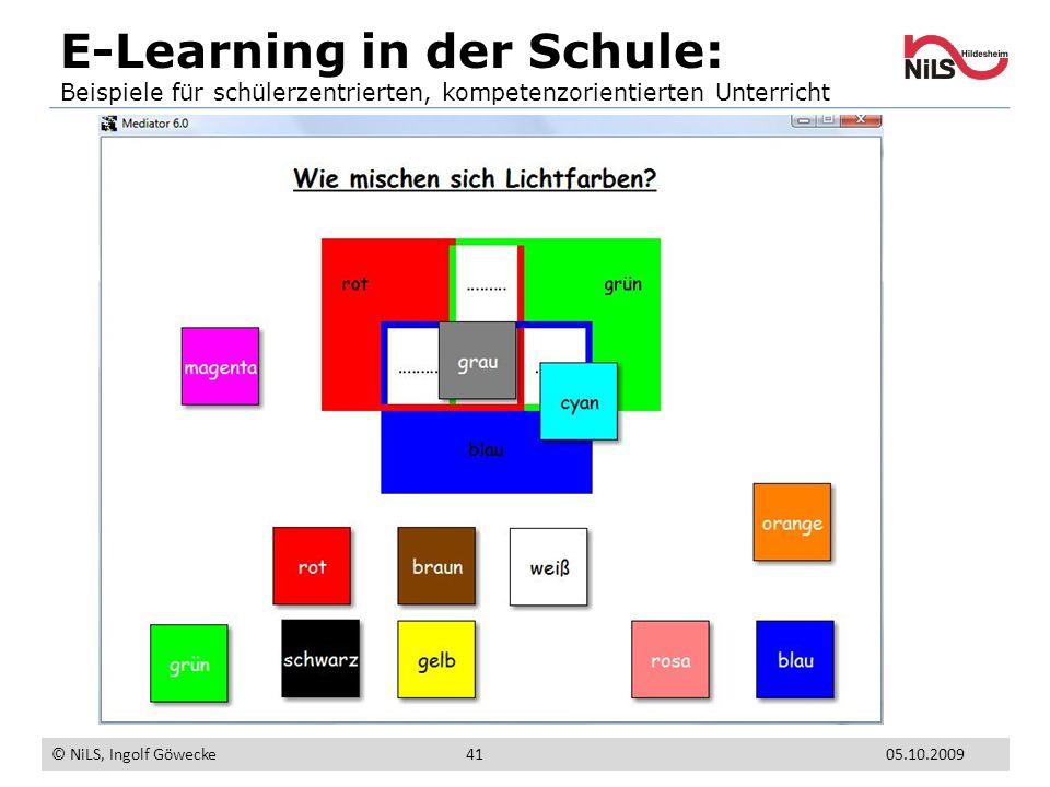 E-Learning in der Schule: Beispiele für schülerzentrierten, kompetenzorientierten Unterricht © NiLS, Ingolf Göwecke 05.10.200941