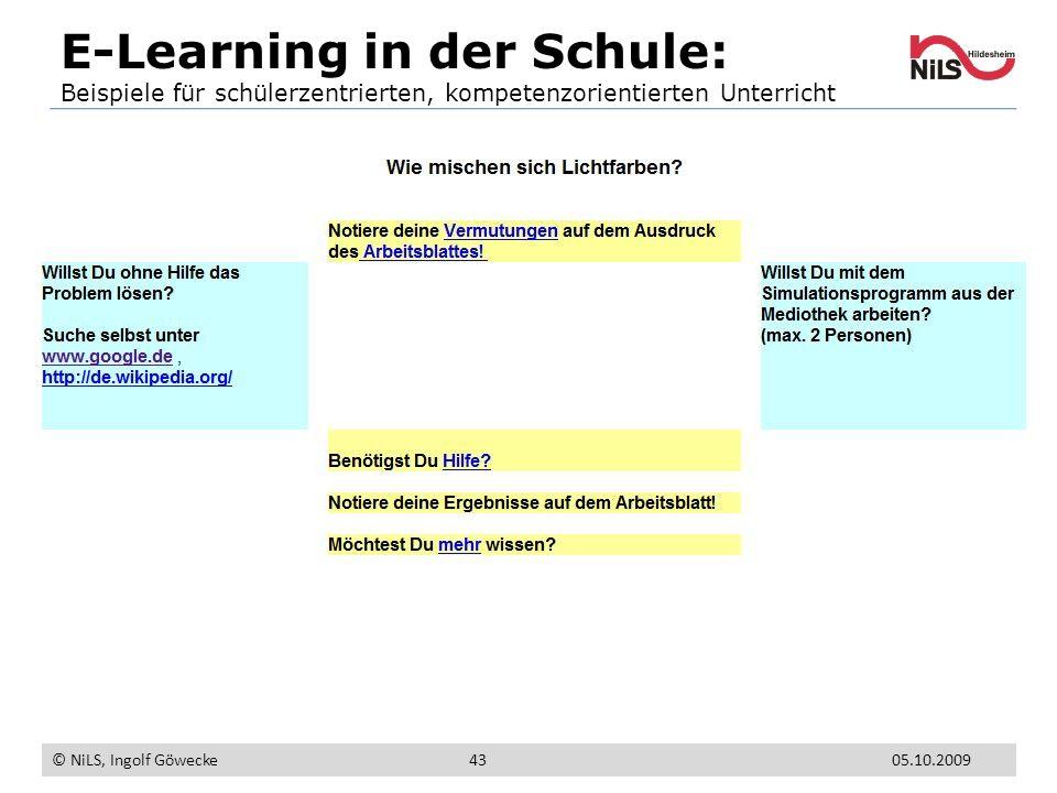 E-Learning in der Schule: Beispiele für schülerzentrierten, kompetenzorientierten Unterricht © NiLS, Ingolf Göwecke 05.10.200943