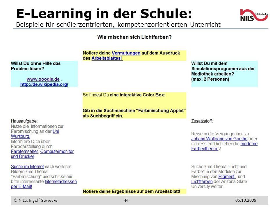 E-Learning in der Schule: Beispiele für schülerzentrierten, kompetenzorientierten Unterricht © NiLS, Ingolf Göwecke 4405.10.2009