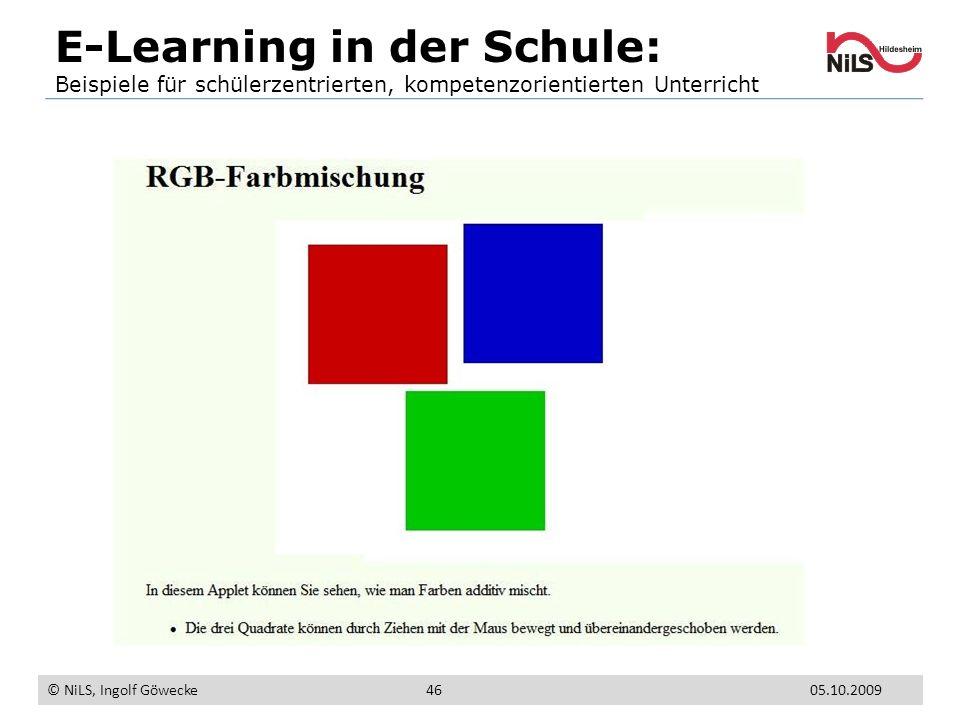 E-Learning in der Schule: Beispiele für schülerzentrierten, kompetenzorientierten Unterricht © NiLS, Ingolf Göwecke 05.10.200946
