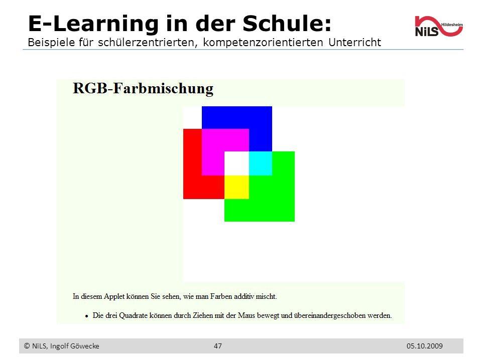 E-Learning in der Schule: Beispiele für schülerzentrierten, kompetenzorientierten Unterricht © NiLS, Ingolf Göwecke 05.10.200947