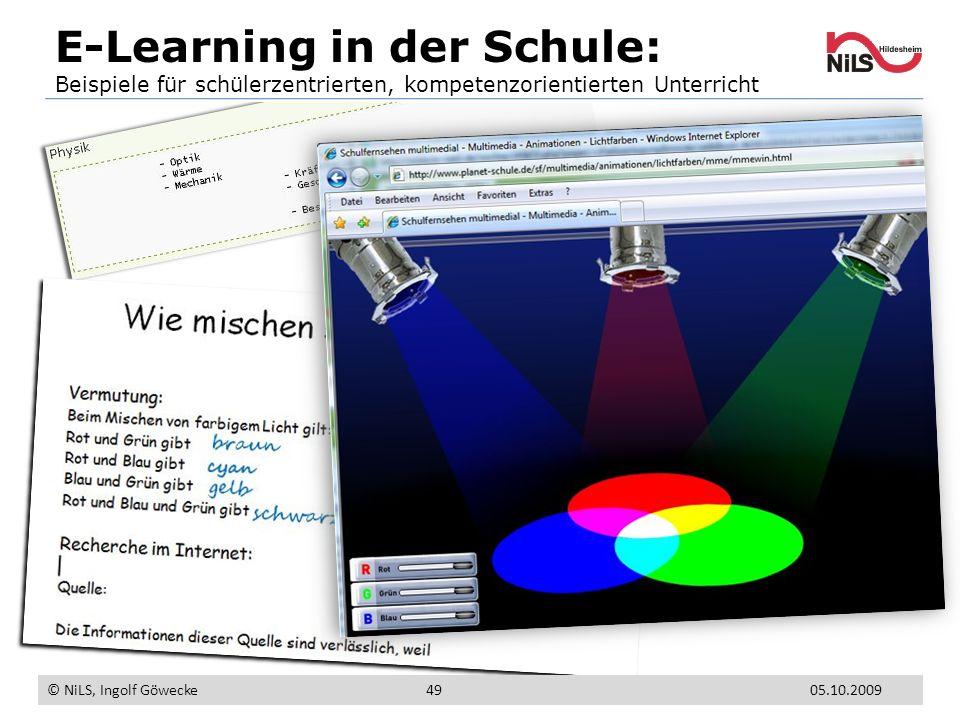 E-Learning in der Schule: Beispiele für schülerzentrierten, kompetenzorientierten Unterricht © NiLS, Ingolf Göwecke 05.10.200949