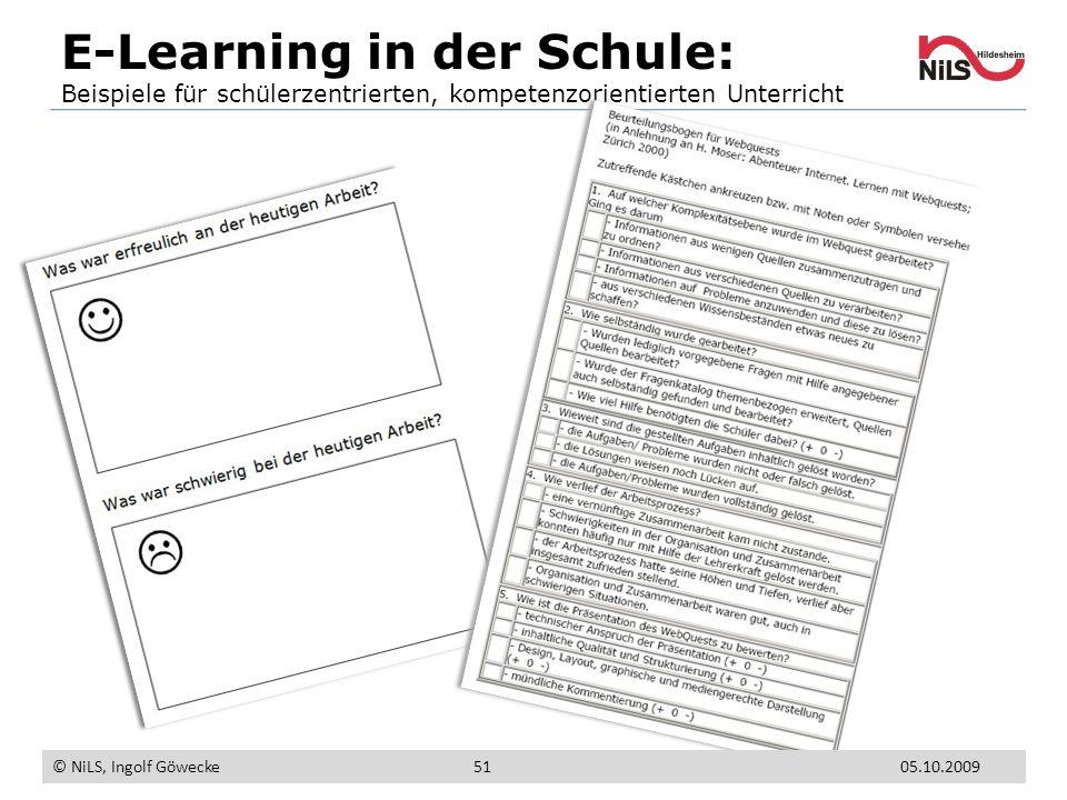 E-Learning in der Schule: Beispiele für schülerzentrierten, kompetenzorientierten Unterricht © NiLS, Ingolf Göwecke 5105.10.2009