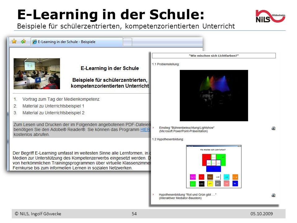 E-Learning in der Schule: Beispiele für schülerzentrierten, kompetenzorientierten Unterricht © NiLS, Ingolf Göwecke 5405.10.2009