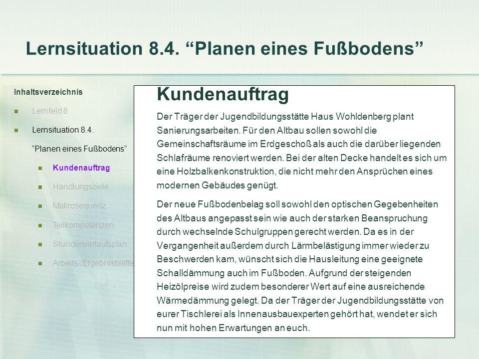 Lernsituation 8.4. Planen eines Fußbodens Inhaltsverzeichnis Lernfeld 8 Lernsituation 8.4. Planen eines Fußbodens Kundenauftrag Handlungsziele Makrose