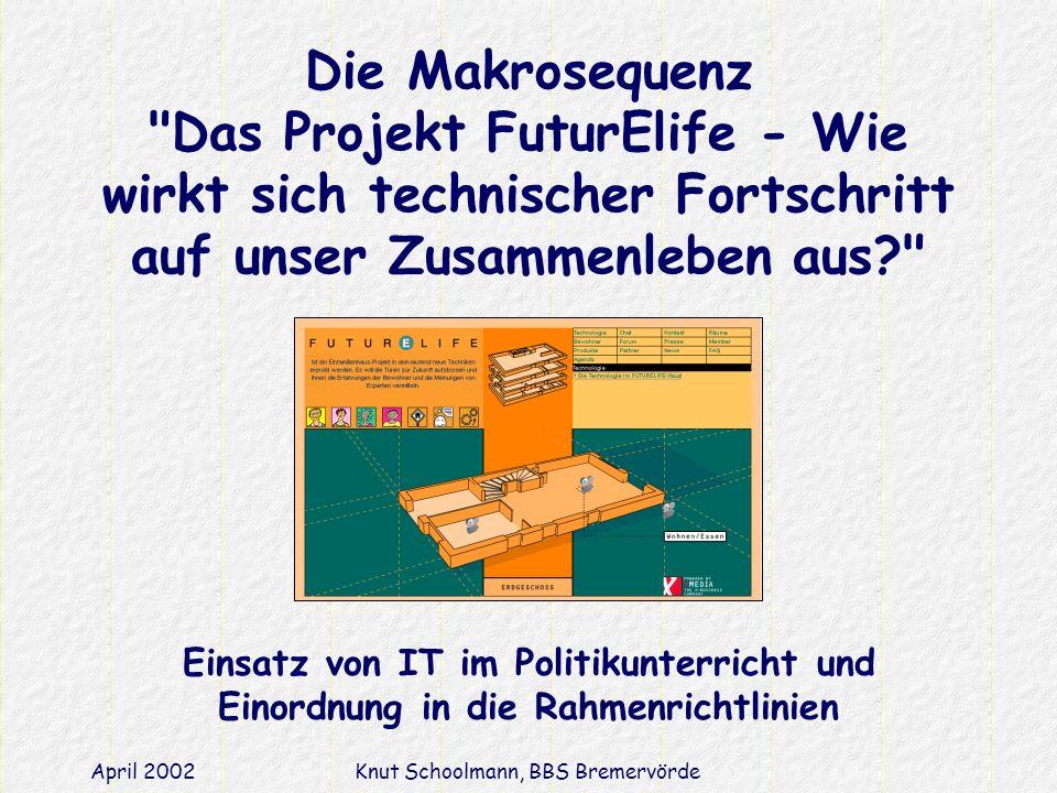 April 2002Knut Schoolmann, BBS Bremervörde Die Makrosequenz Das Projekt FuturElife - Wie wirkt sich technischer Fortschritt auf unser Zusammenleben aus? Einsatz von IT im Politikunterricht und Einordnung in die Rahmenrichtlinien