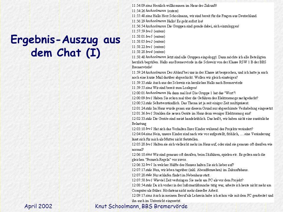 April 2002Knut Schoolmann, BBS Bremervörde Ergebnis-Auszug aus dem Chat (I)