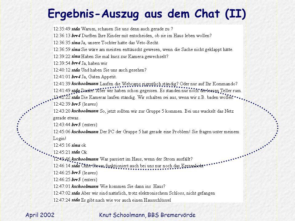 April 2002Knut Schoolmann, BBS Bremervörde Ergebnis-Auszug aus dem Chat (II)