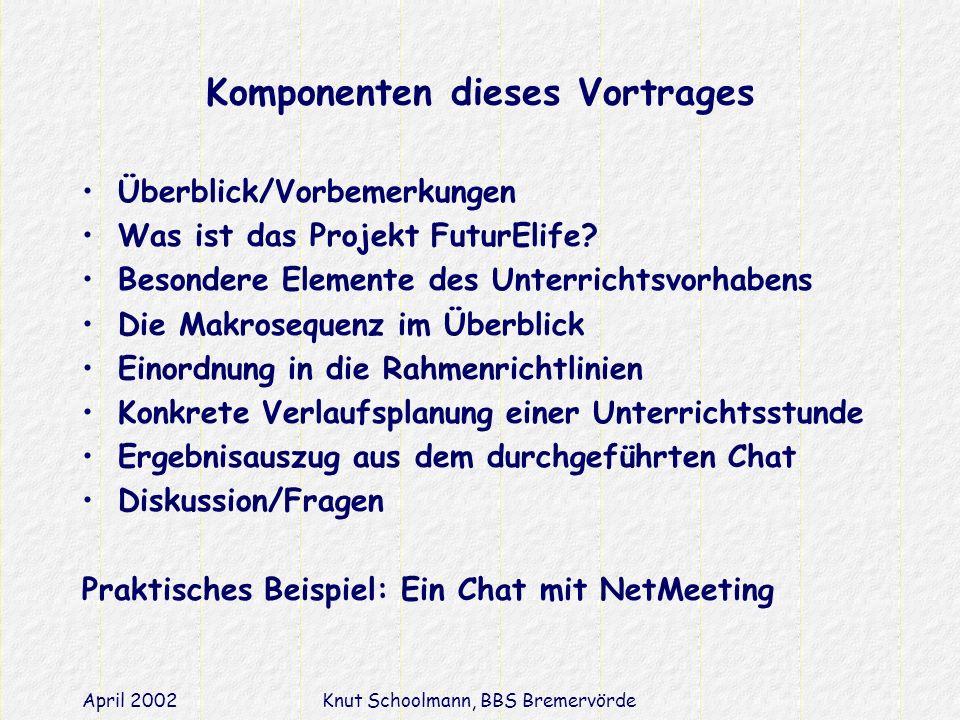 April 2002Knut Schoolmann, BBS Bremervörde Komponenten dieses Vortrages Überblick/Vorbemerkungen Was ist das Projekt FuturElife.