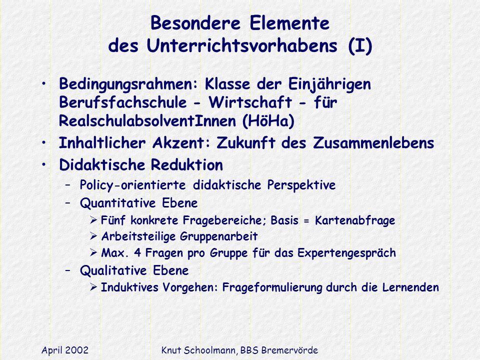 April 2002Knut Schoolmann, BBS Bremervörde Besondere Elemente des Unterrichtsvorhabens (I) Bedingungsrahmen: Klasse der Einjährigen Berufsfachschule - Wirtschaft - für RealschulabsolventInnen (HöHa) Inhaltlicher Akzent: Zukunft des Zusammenlebens Didaktische Reduktion –Policy-orientierte didaktische Perspektive –Quantitative Ebene Fünf konkrete Fragebereiche; Basis = Kartenabfrage Arbeitsteilige Gruppenarbeit Max.