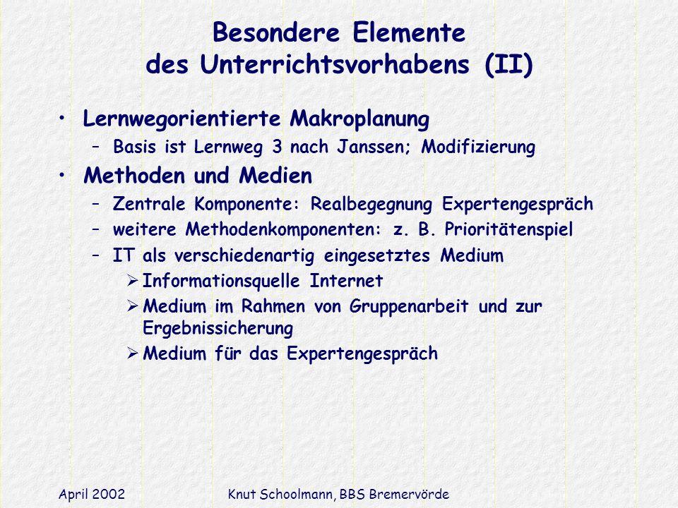 April 2002Knut Schoolmann, BBS Bremervörde Besondere Elemente des Unterrichtsvorhabens (II) Lernwegorientierte Makroplanung –Basis ist Lernweg 3 nach Janssen; Modifizierung Methoden und Medien –Zentrale Komponente: Realbegegnung Expertengespräch –weitere Methodenkomponenten: z.