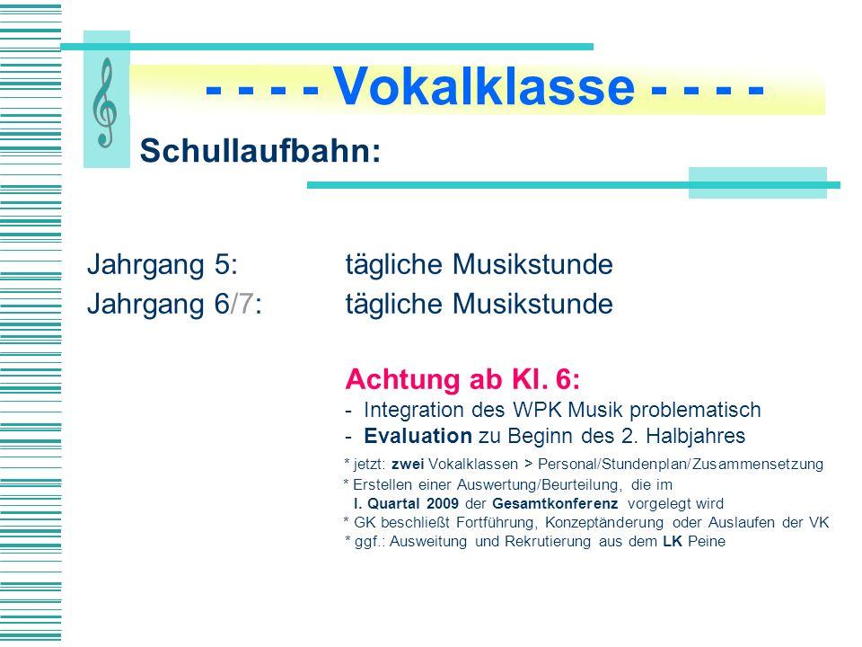 Jahrgang 5: tägliche Musikstunde Jahrgang 6/7:tägliche Musikstunde Achtung ab Kl.