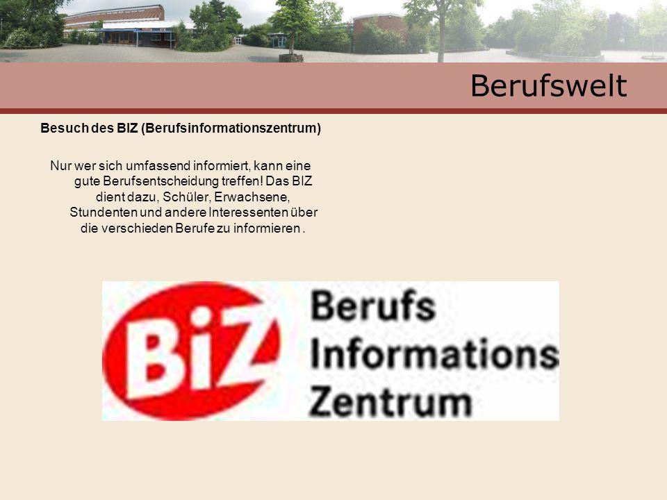Berufswelt Besuch des BIZ (Berufsinformationszentrum) Nur wer sich umfassend informiert, kann eine gute Berufsentscheidung treffen! Das BIZ dient dazu