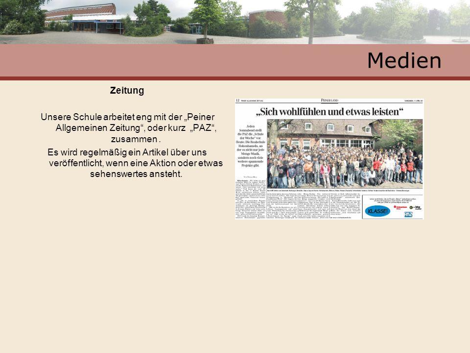 Medien Zeitung Unsere Schule arbeitet eng mit der Peiner Allgemeinen Zeitung, oder kurz PAZ, zusammen. Es wird regelmäßig ein Artikel über uns veröffe