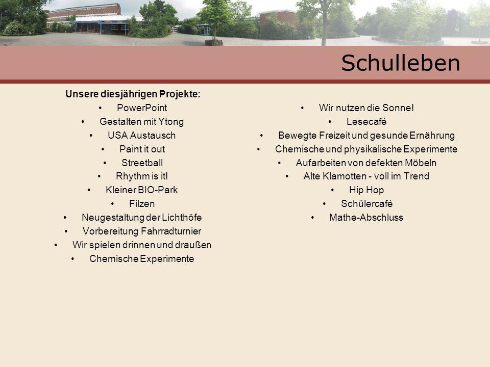Schulleben Unsere diesjährigen Projekte: PowerPoint Gestalten mit Ytong USA Austausch Paint it out Streetball Rhythm is it! Kleiner BIO-Park Filzen Ne