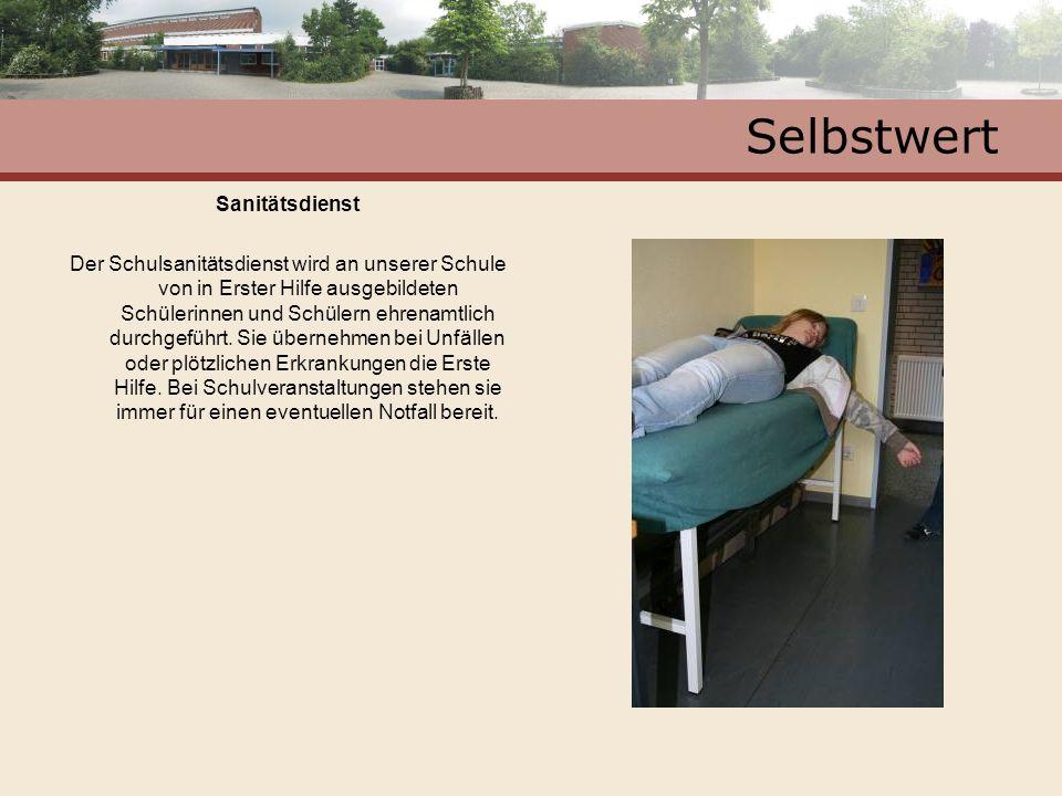 Selbstwert Sanitätsdienst Der Schulsanitätsdienst wird an unserer Schule von in Erster Hilfe ausgebildeten Schülerinnen und Schülern ehrenamtlich durc