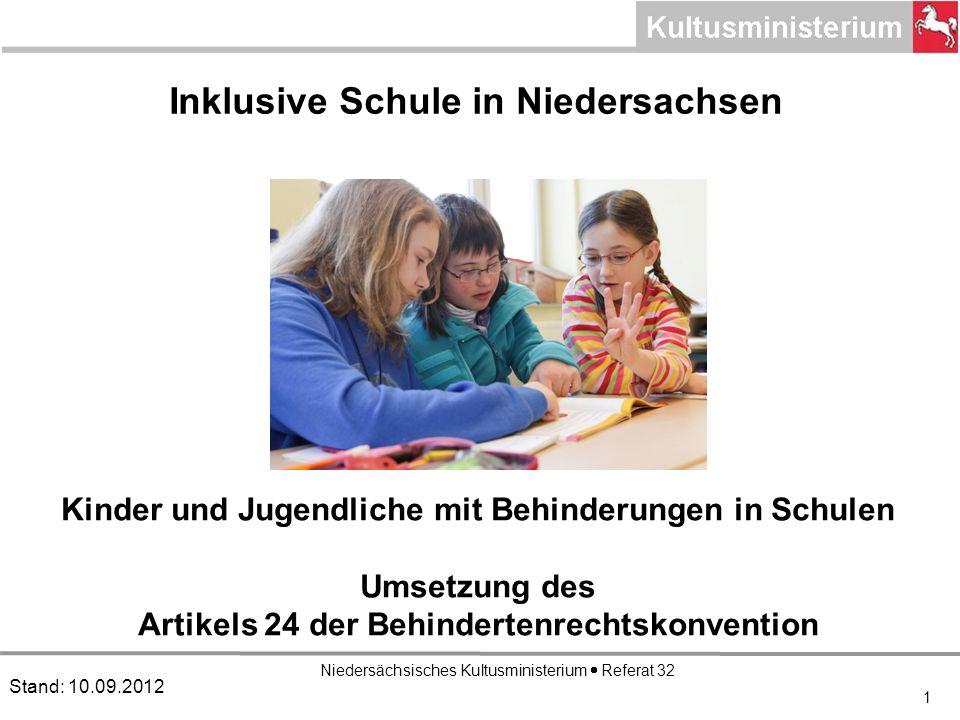 Niedersächsisches Kultusministerium Referat 32 1 Inklusive Schule in Niedersachsen Stand: 10.09.2012 Kinder und Jugendliche mit Behinderungen in Schulen Umsetzung des Artikels 24 der Behindertenrechtskonvention