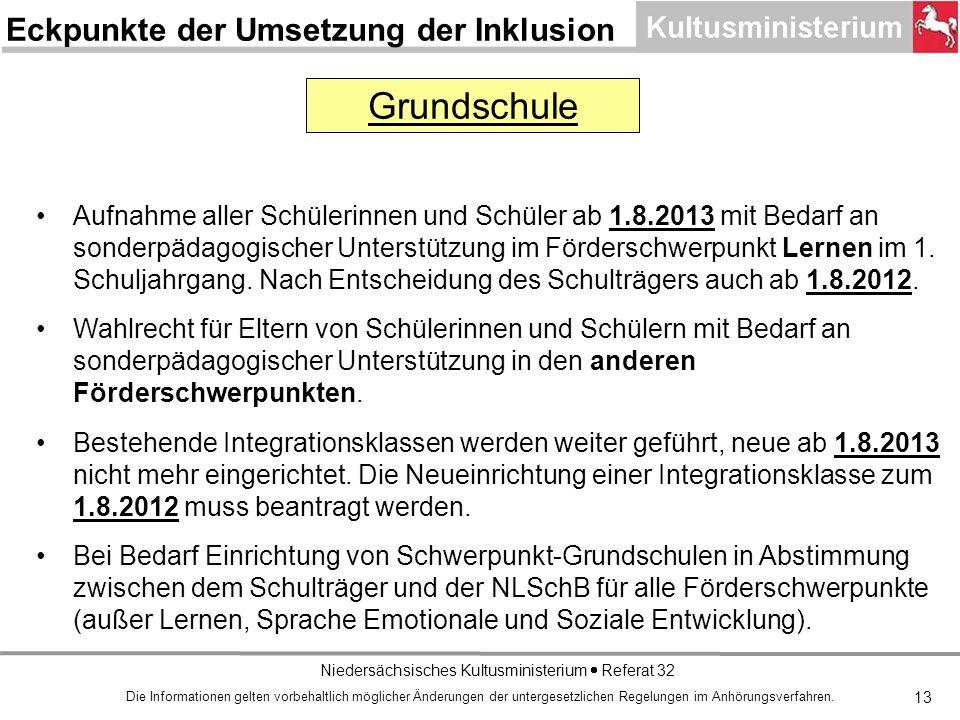 Niedersächsisches Kultusministerium Referat 32 13 Aufnahme aller Schülerinnen und Schüler ab 1.8.2013 mit Bedarf an sonderpädagogischer Unterstützung im Förderschwerpunkt Lernen im 1.