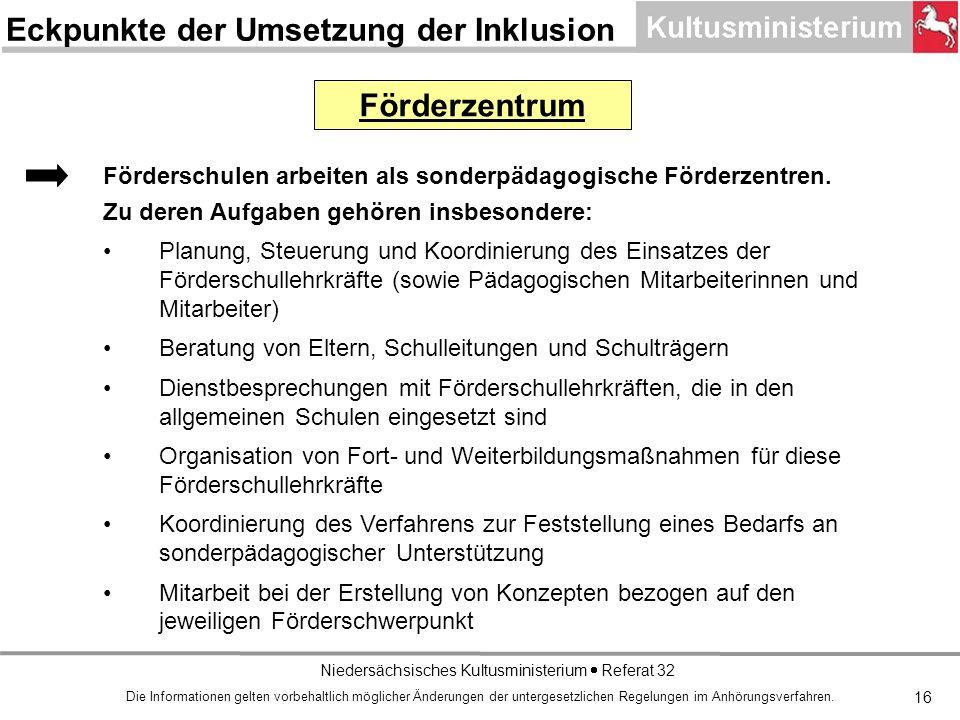 Niedersächsisches Kultusministerium Referat 32 16 Förderzentrum Förderschulen arbeiten als sonderpädagogische Förderzentren.