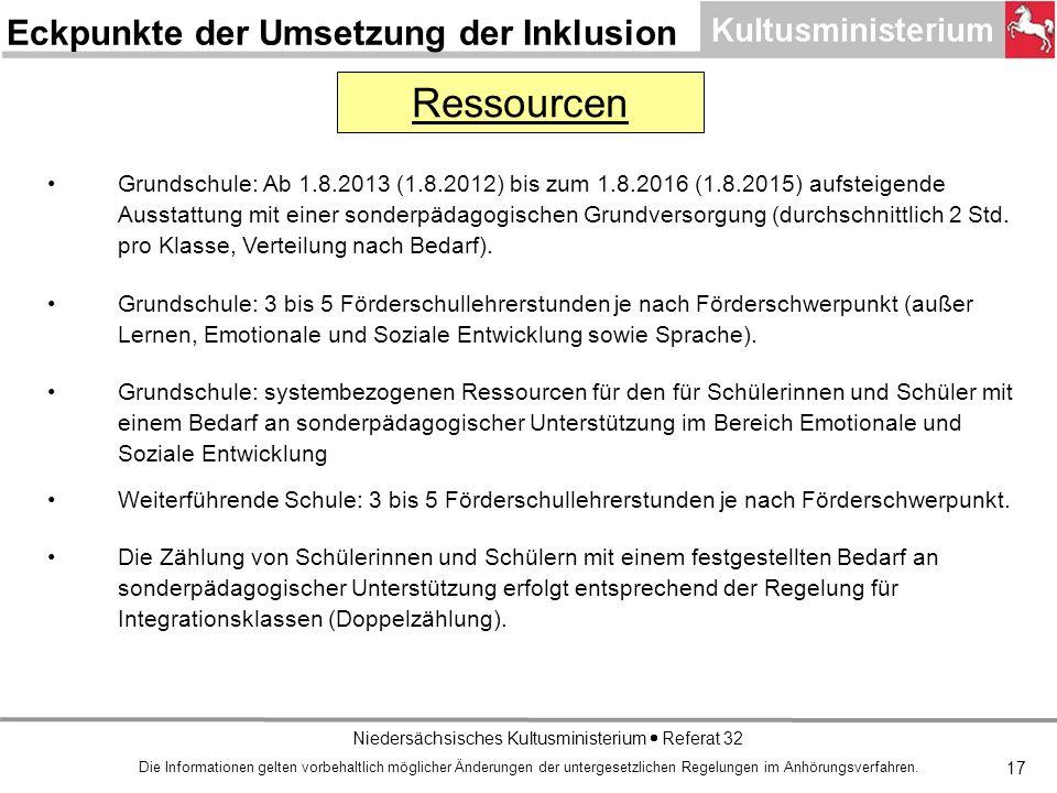 Niedersächsisches Kultusministerium Referat 32 17 Grundschule: Ab 1.8.2013 (1.8.2012) bis zum 1.8.2016 (1.8.2015) aufsteigende Ausstattung mit einer sonderpädagogischen Grundversorgung (durchschnittlich 2 Std.