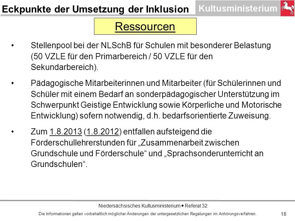 Niedersächsisches Kultusministerium Referat 32 18 Stellenpool bei der NLSchB für Schulen mit besonderer Belastung (50 VZLE für den Primarbereich / 50 VZLE für den Sekundarbereich).