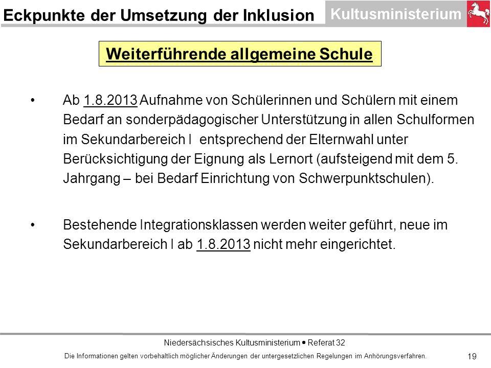 Niedersächsisches Kultusministerium Referat 32 19 Ab 1.8.2013 Aufnahme von Schülerinnen und Schülern mit einem Bedarf an sonderpädagogischer Unterstützung in allen Schulformen im Sekundarbereich I entsprechend der Elternwahl unter Berücksichtigung der Eignung als Lernort (aufsteigend mit dem 5.