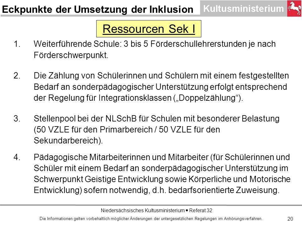 Niedersächsisches Kultusministerium Referat 32 20 1.Weiterführende Schule: 3 bis 5 Förderschullehrerstunden je nach Förderschwerpunkt.