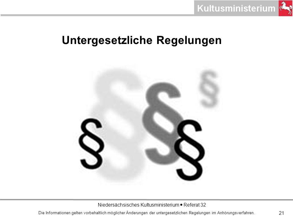 Niedersächsisches Kultusministerium Referat 32 21 Untergesetzliche Regelungen Die Informationen gelten vorbehaltlich möglicher Änderungen der untergesetzlichen Regelungen im Anhörungsverfahren.
