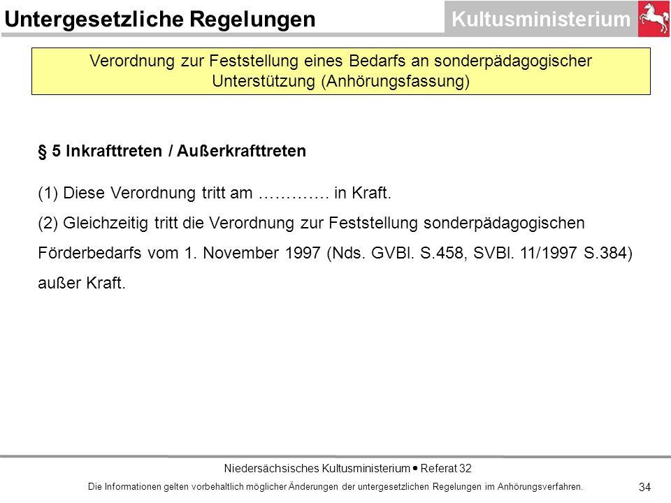 Niedersächsisches Kultusministerium Referat 32 Verordnung zur Feststellung eines Bedarfs an sonderpädagogischer Unterstützung (Anhörungsfassung) § 5 Inkrafttreten / Außerkrafttreten (1) Diese Verordnung tritt am ………….