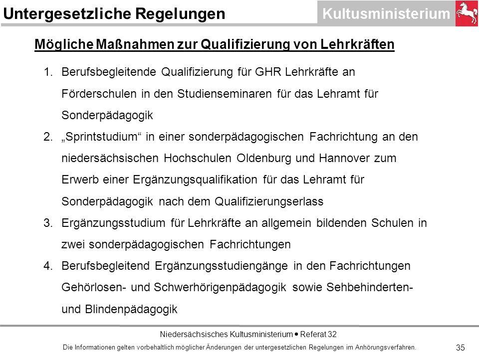 Niedersächsisches Kultusministerium Referat 32 1.Berufsbegleitende Qualifizierung für GHR Lehrkräfte an Förderschulen in den Studienseminaren für das Lehramt für Sonderpädagogik 2.Sprintstudium in einer sonderpädagogischen Fachrichtung an den niedersächsischen Hochschulen Oldenburg und Hannover zum Erwerb einer Ergänzungsqualifikation für das Lehramt für Sonderpädagogik nach dem Qualifizierungserlass 3.Ergänzungsstudium für Lehrkräfte an allgemein bildenden Schulen in zwei sonderpädagogischen Fachrichtungen 4.Berufsbegleitend Ergänzungsstudiengänge in den Fachrichtungen Gehörlosen- und Schwerhörigenpädagogik sowie Sehbehinderten- und Blindenpädagogik Mögliche Maßnahmen zur Qualifizierung von Lehrkräften Die Informationen gelten vorbehaltlich möglicher Änderungen der untergesetzlichen Regelungen im Anhörungsverfahren.