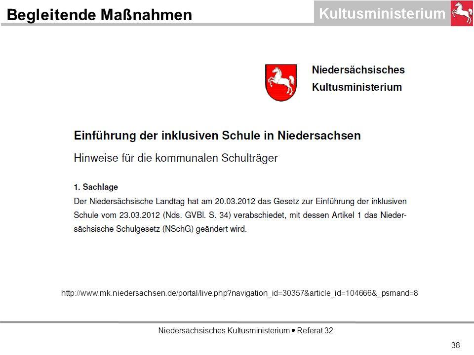 Niedersächsisches Kultusministerium Referat 32 http://www.mk.niedersachsen.de/portal/live.php navigation_id=30357&article_id=104666&_psmand=8 Begleitende Maßnahmen 38
