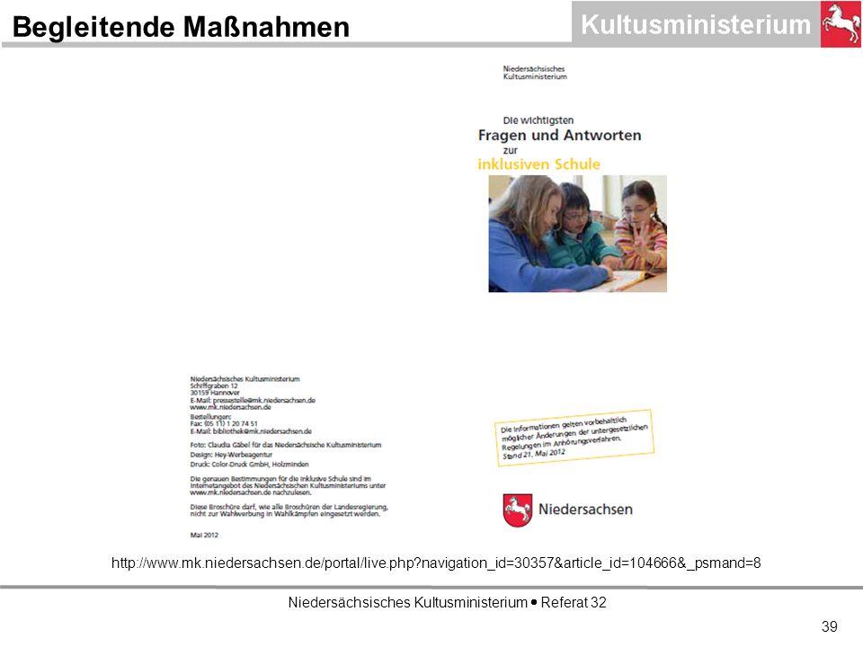 Niedersächsisches Kultusministerium Referat 32 http://www.mk.niedersachsen.de/portal/live.php navigation_id=30357&article_id=104666&_psmand=8 Begleitende Maßnahmen 39