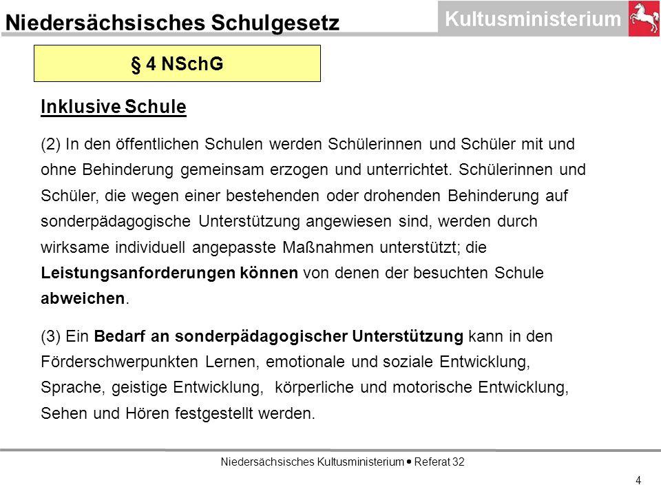 Niedersächsisches Kultusministerium Referat 32 4 § 4 NSchG Inklusive Schule (2) In den öffentlichen Schulen werden Schülerinnen und Schüler mit und ohne Behinderung gemeinsam erzogen und unterrichtet.