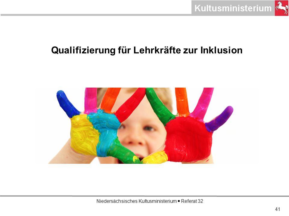 Niedersächsisches Kultusministerium Referat 32 Qualifizierung für Lehrkräfte zur Inklusion 41